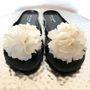 Kate Spade jelly thong with silk flower toes #427